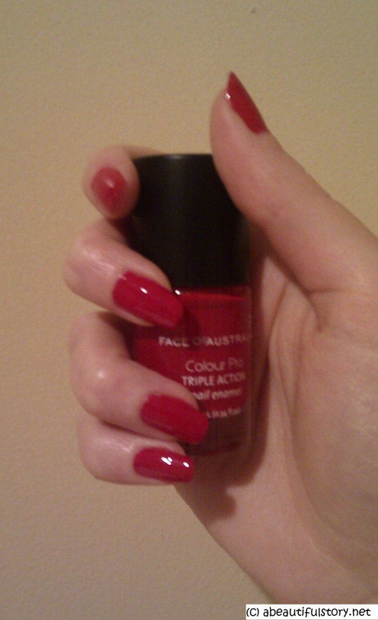 "swatch of nail polish ""lady in red"""